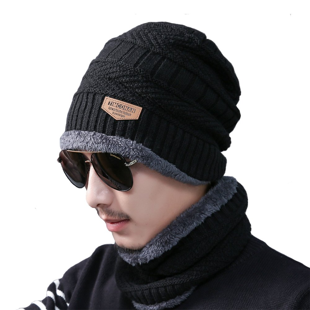 2-Pieces Men Winter Knit Hat Circle Scarf with Fleece Lining Snow Ski Skull Cap