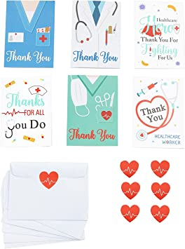 12pc Thank You Cards for Nurses,Medical Healthcare Workers Appreciation Card Set for Doctors Emts Essential Workers Gift Card Set with 12 pc Envelopes and 12pc Stickers