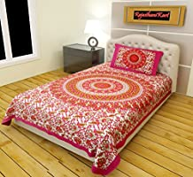 RajasthaniKart Classic 144 TC Cotton Single Bedsheet with 1 Pillow Cover - Abstract, Pink