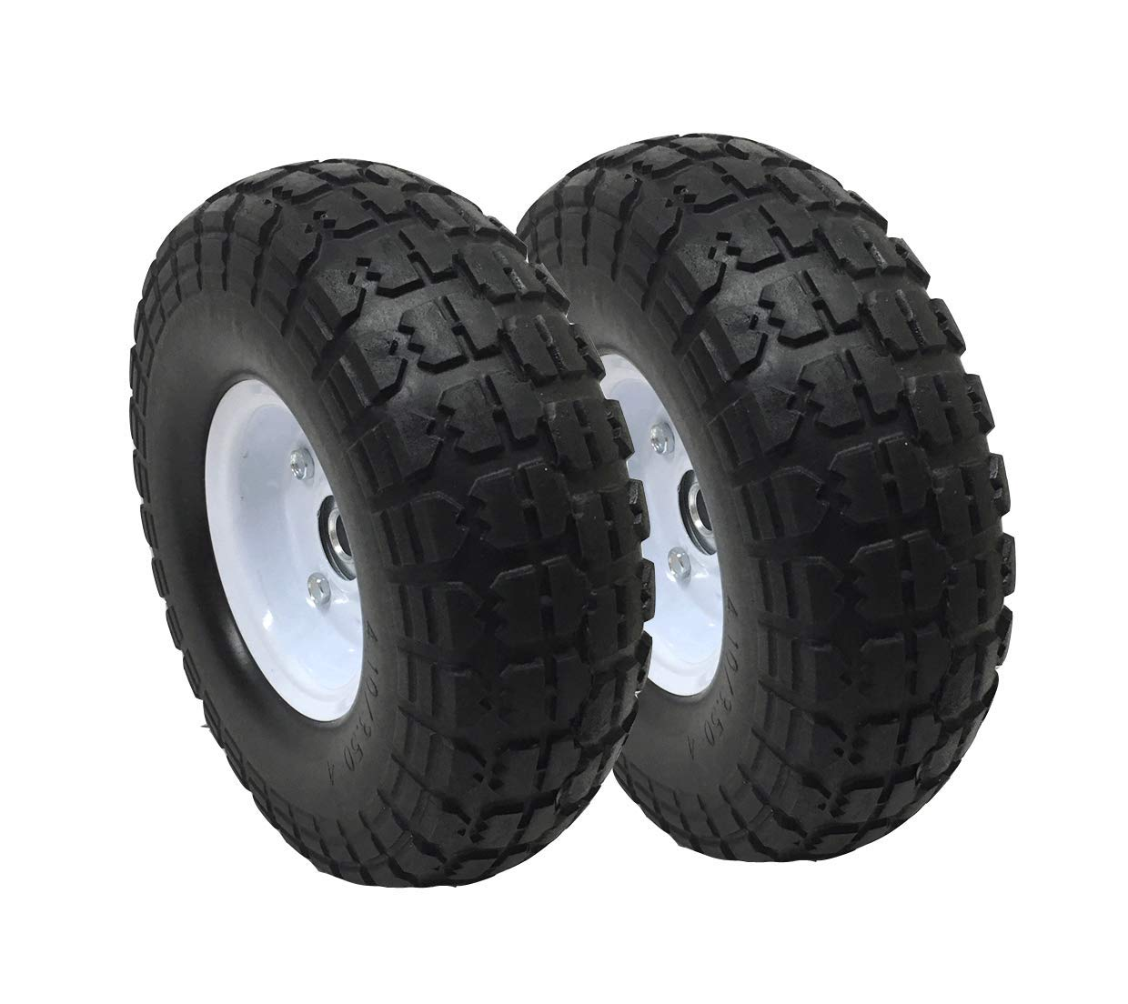 UI PRO TOOLS 2-Pack 4.10//3.50-4 Flat Free Rubber Tire Hand Truck//All Purpose Utility Tires on Wheels 5//8 Bearing Hole
