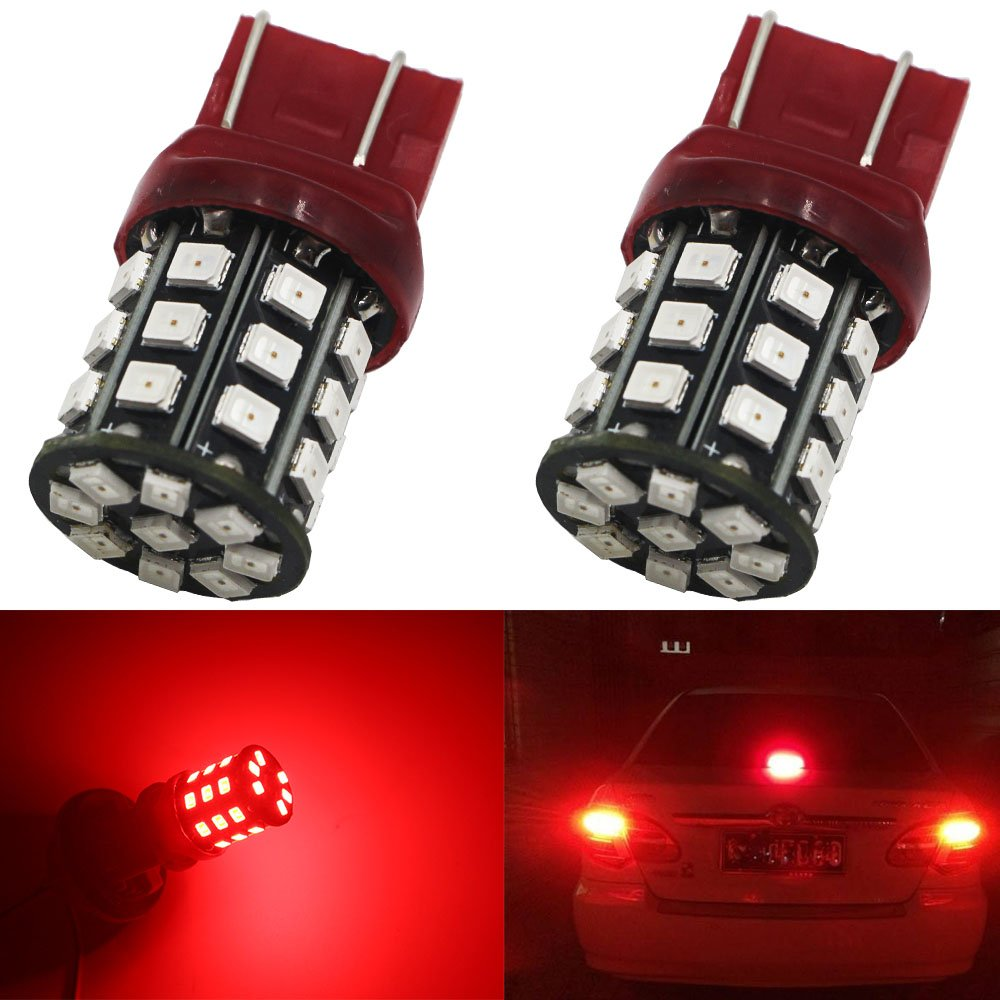 AMAZENAR 2-Pack 7443 7440 992 T20 Car Tail Brake Light- 12V-24V Red Extremely Bright 250 Lumens 2835 33 SMD LED Light Bulb - Replacement for Tail LED Bulb Parking Light Amazenar(TM) AZ-7443-2835-33L-R-12V-24V