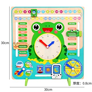 xinYxzR Wooden Clock Calendar Weather Season Month Cognitive Board Kids Educational Toy Multicolor