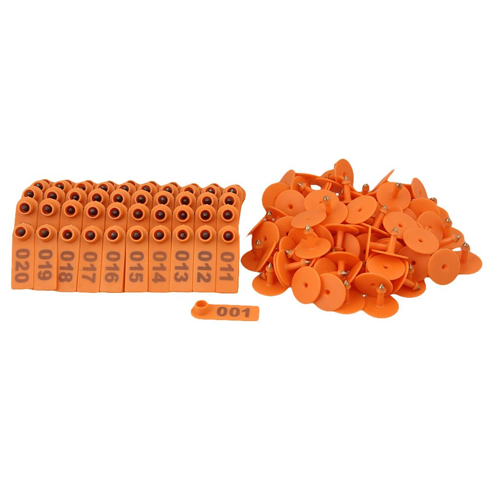 RDEXP Orange 51x18mm Number 1-100 Plastic Livestock Ear Tag Goat Sheep Pig Tag Marker Label Set of 100 RDEXPAM RDN127712016