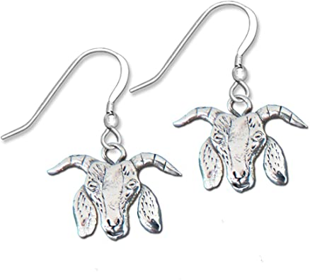 Goat Earrings Silver Color Dangle Earrings Animal Earrings Three Dimensional
