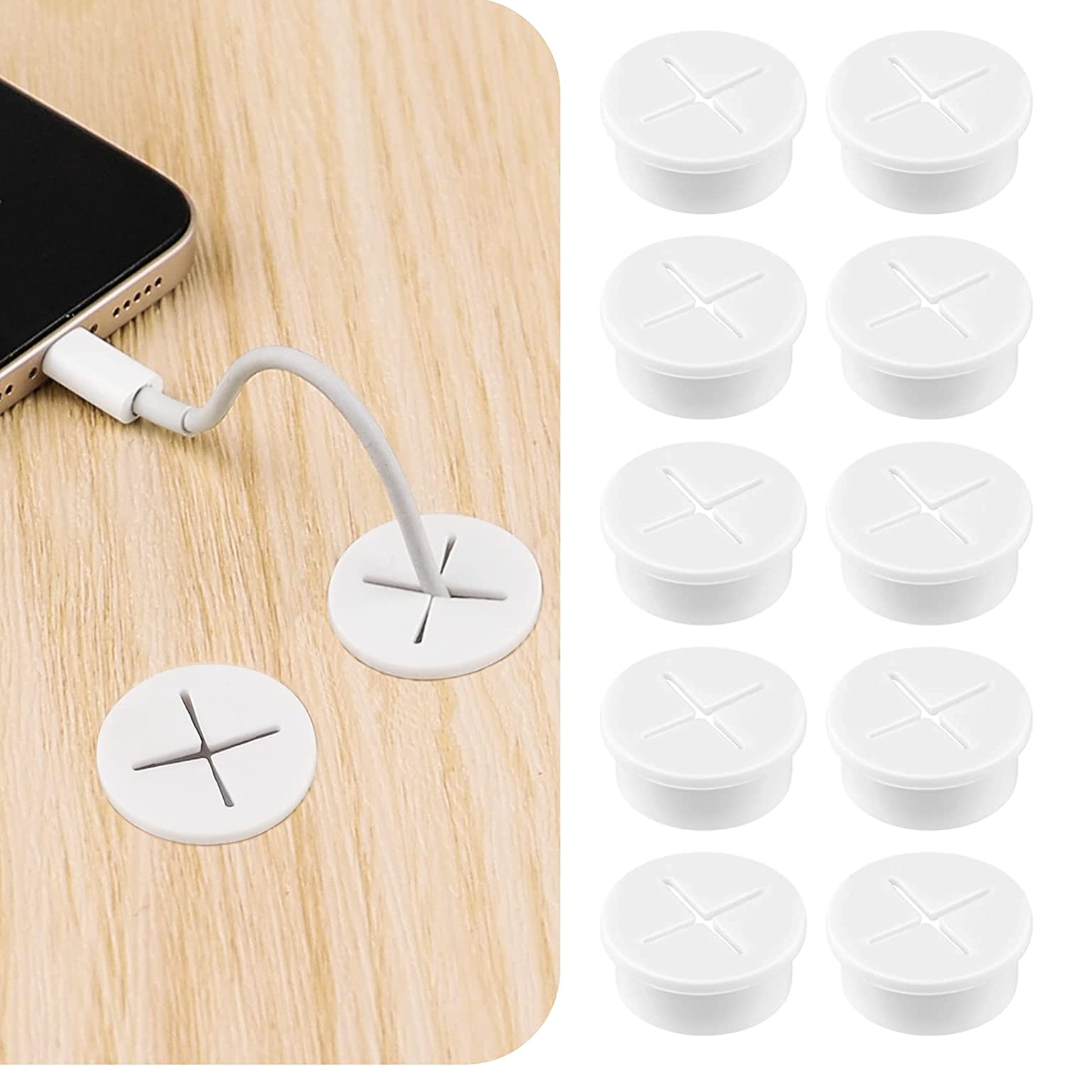 Sanroms 10 Pack Flexible Silicone Cable Cord Grommet Rubber Grommets for Table, Desk, TV Console and Other Furnitures Hole Cover Cable Management Wire Organizer Cable Pass Through (White)
