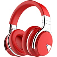 COWIN E7 Active Noise Cancelling Bluetooth Headphones with Microphone Deep Bass Wireless Headphones Over Ear, Comfortable Protein Earpads, 30H Playtime for Travel Work TV Computer IPhone - Red