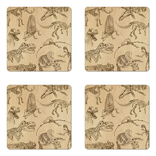 Lunarable Dinosaur Coaster Set of 4, Hand Drawn Style Skeletons Bones from Medieval Times Archeology Theme, Square Hardboard Gloss Coasters for Drinks, Green Brown]()