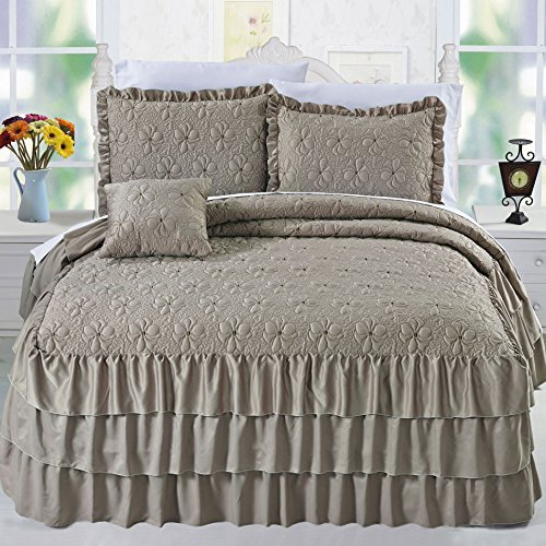 (Serenta 4 Piece Matte Satin Ruffle Quilted Bedspread Set, Taupe, Queen)