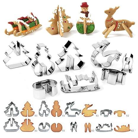 Biscotti Di Natale X Bambini.Set Di 8 Formine Per Biscotti Di Natale 3d In Acciaio Inox Stampini