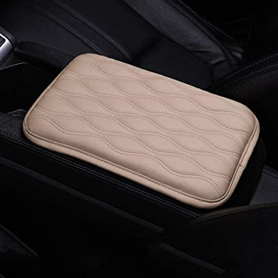 Dotesy Auto Center Console Cover Armrest Pads, PU Leather Universal Car Center Console Box Arm Rest Pads Cushion Protector (Beige): Automotive