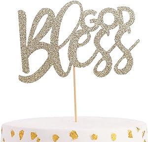 God Bless The Cake Topper - Glittering Golden Baptismal Decoration, Communion Decoration Logo, Christening Cake Topper