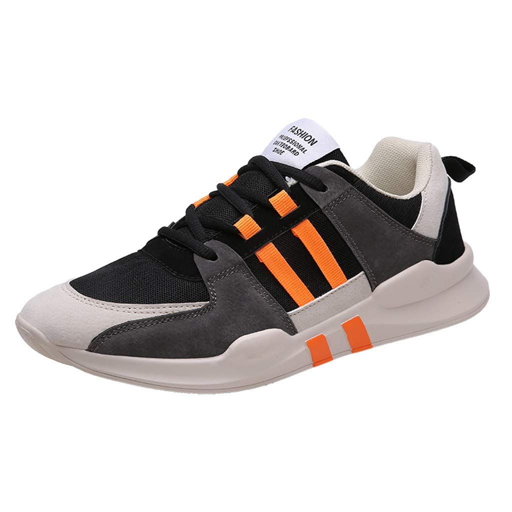 Men's Lightweight Mesh Sneakers Breathable Lace Up Running Tennis Shoes with Soft Sole Casual Comfort Walking Shoes (Orange, 8.5 M US)
