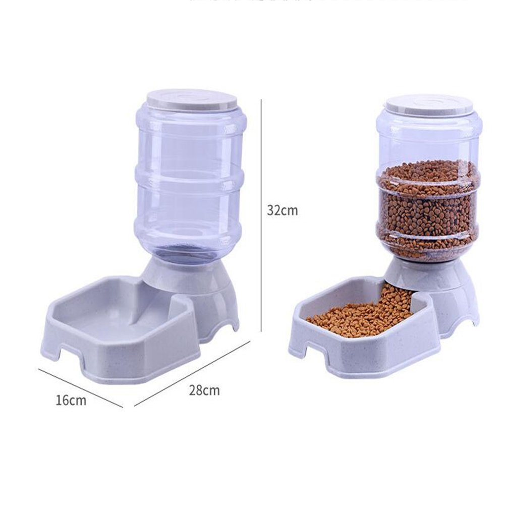 CW&T WW Pet Automatic Feeder Waterer Square3.8L Large Capacity Gravity Replenishment Dog Cat Food Dispenser,Beige by CW&T (Image #5)