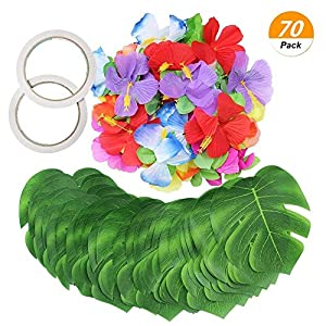 SelfTek 70Pack Tropical Party Decoration Supplies, 30pcs Tropical Palm Leaves and 38pcs Silk Hibiscus Flowers with 2 x Double-Sided Tapes 118
