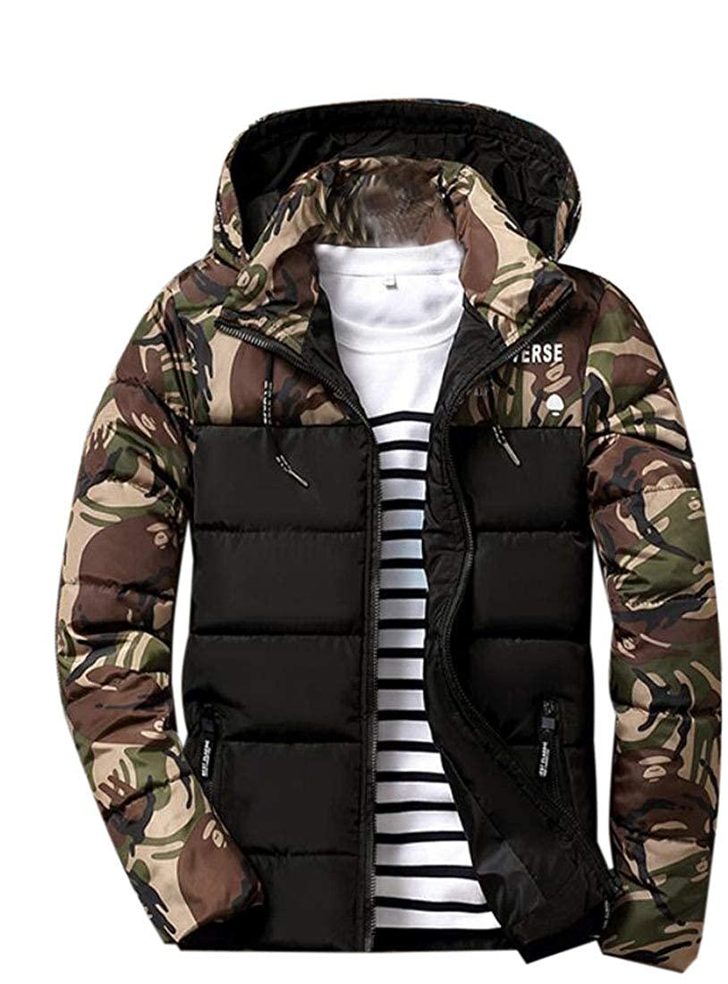 Spirio Men Zip-Up Stylish Camouflage Print Hooded Quilted Down Jacket Coat