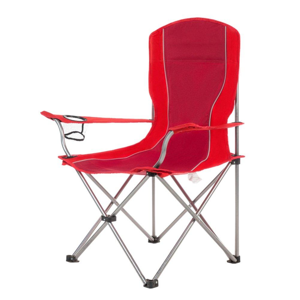 HM & DXアウトドア折りたたみキャンプ椅子ポータブルコンパクトビーチチェアwithカップホルダーHeavy Dutyキャンプ椅子バックハイキング釣りピクニック B07BY1JVWY  レッド
