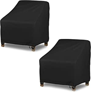 Oslimea Patio Chair Covers Set of 2, Waterproof Chair Cover for Lounge Deep Seat Cover Outdoor Chair Cover, with Drawstring and 4 Buckles Design, 38''Lx31''Dx29''H