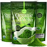 Organic Matcha Green Tea Powder USDA Certified - 100% Pure Macha Ceremonial and Culinary Grade for Smoothies and Baking - 4oz 120g