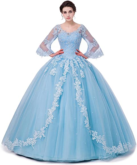 078cbdc42e5a SHDRESS Long Sleeve Lace Quinceanera Dresses Formal Prom Dresses Ball Gown ( Blue, 2)