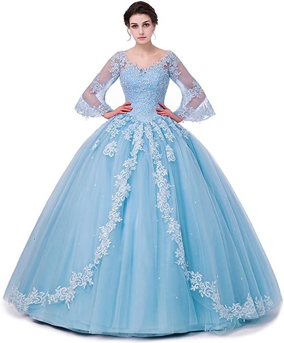 3aaf7c97296 SHDRESS Long Sleeve Lace Quinceanera Dresses Formal Prom Dresses Ball Gown ( Blue