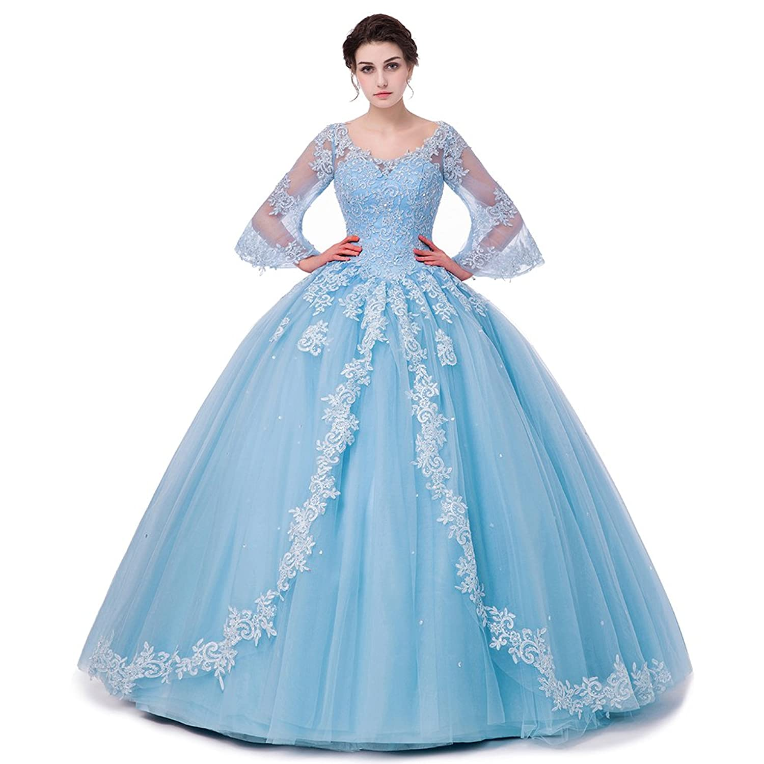 SHDRESS Long Sleeve Lace Quinceanera Dresses Formal Prom Dresses ...