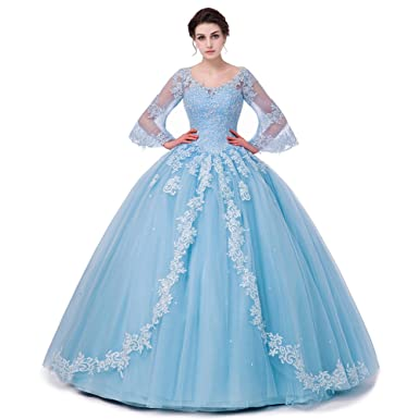 SHDRESS Long Sleeve Lace Quinceanera Dresses Formal Prom Dresses Ball Gown (2, Blue)