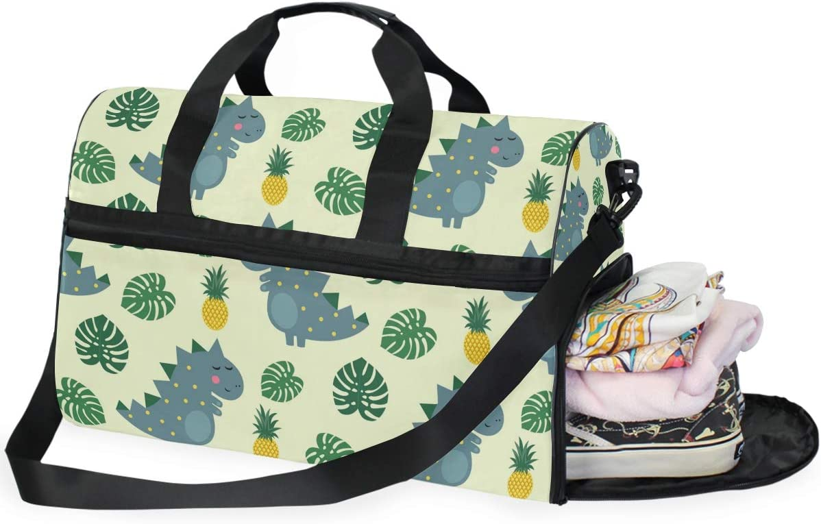Dinosaur Pineapple Sports Gym Bag with Shoes Compartment Travel Duffel Bag for Men and Women