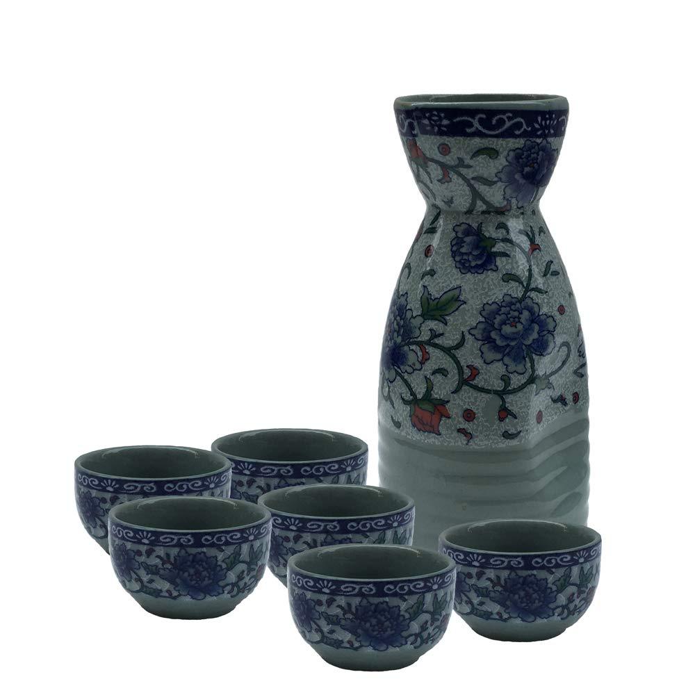 KCHAIN 7 in 1 set Ceramic Sake set (Blue Sakura) by KCHAIN