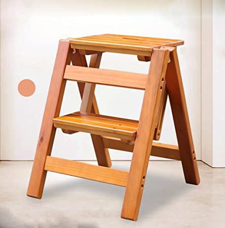 LYJBT Taburete de madera maciza/Escalera multifuncional de madera maciza Escalera plegable de dos escalones Escalera de madera pequeña portátil 39 * 42 * 47CM (Color : 1): Amazon.es: Hogar