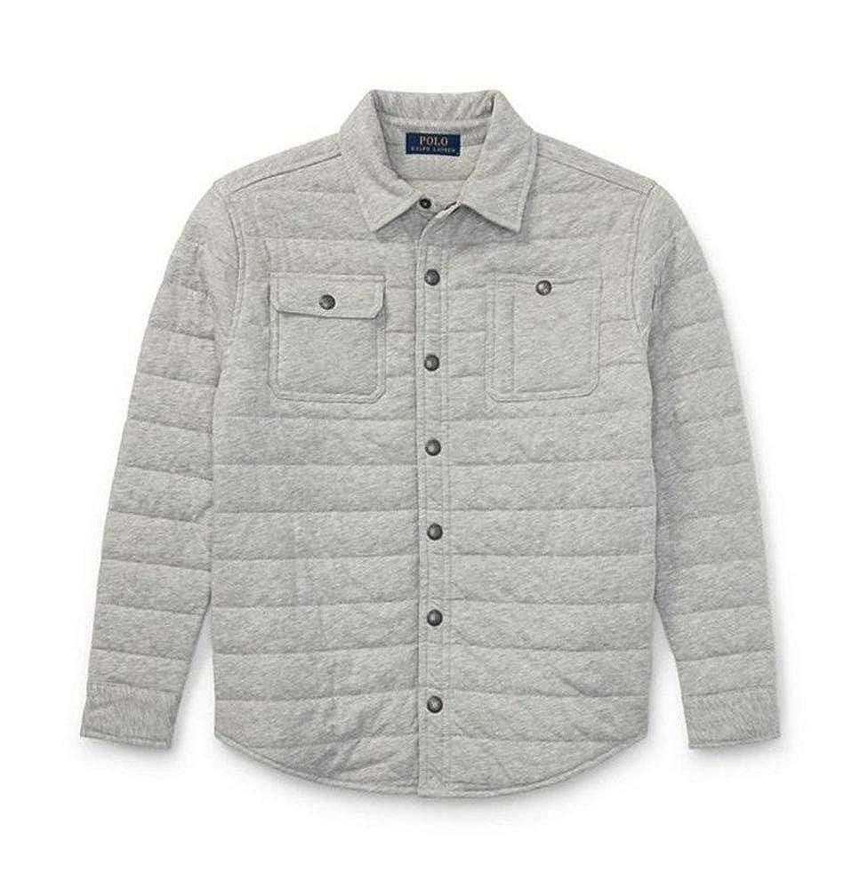 Gray 5 Ralph Lauren Polo Boys Quilted Jersey Shirt Jacket