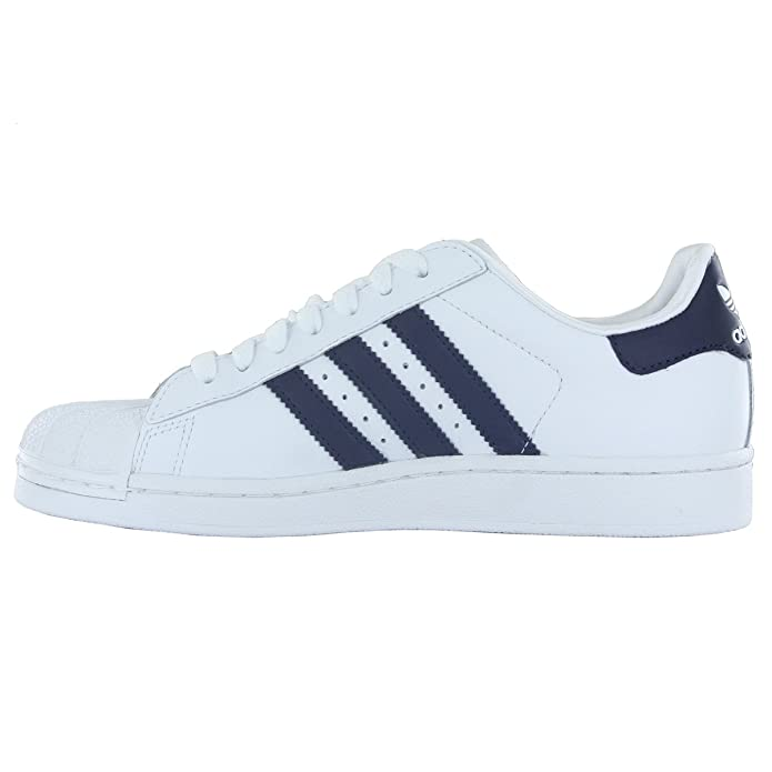 Adidas Superstar II J White Navy Leather Youth Trainers Size