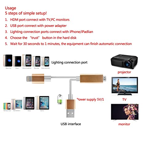 Lightning to HDMI, support IOS 11 0cable 6 6FT, 1080P HDMI Video AV Cable  Connector Conversion Same ATETION Screen Device HDTV Adapter for iPhone