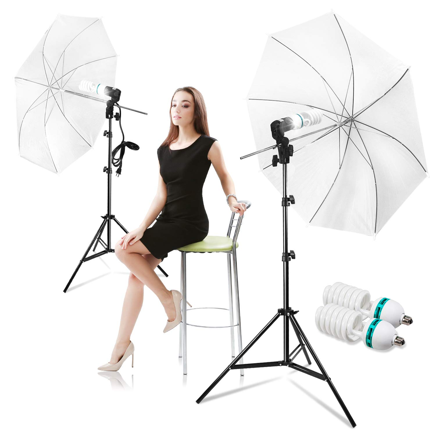 LimoStudio Photography Photo Portrait Studio Day Light 33'' Translucent Natural Lighting White Umbrella Continuous Lighting Kit, AGG2912