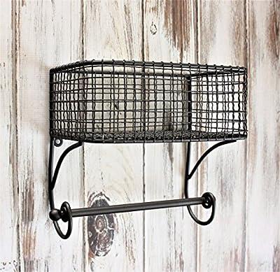 Bathroom Shelf, Bathroom Organizer Farmhouse Style , Bathroom Towel Rack, Basket with Towel Rod SMALL