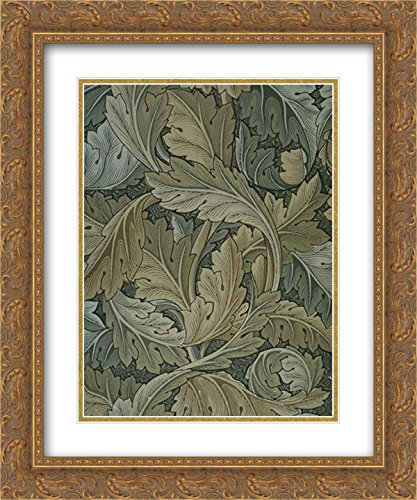 William Morris 2X Matted 20x24 Gold Ornate Framed Art Print 'Acanthus Wallpaper'