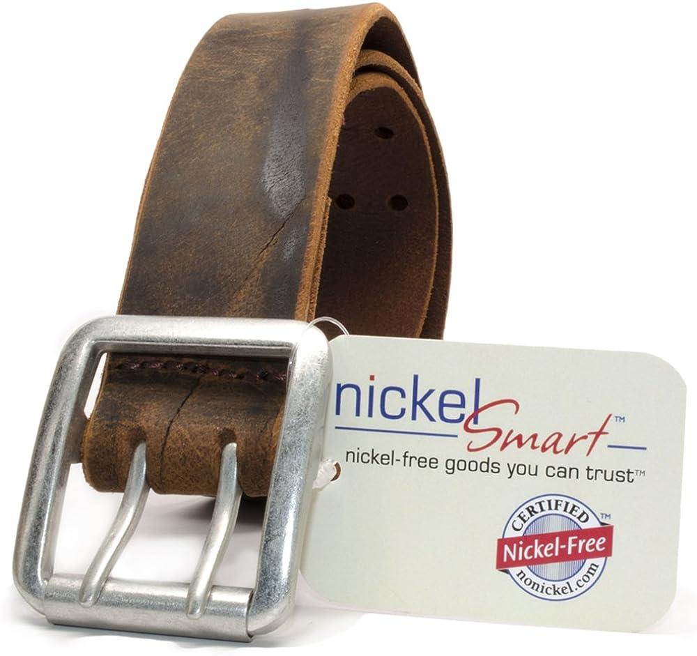 Nickel Smart Full Grain Leather Belt with Nickel Free Buckle Ridgeline Trail Distressed Brown Belt