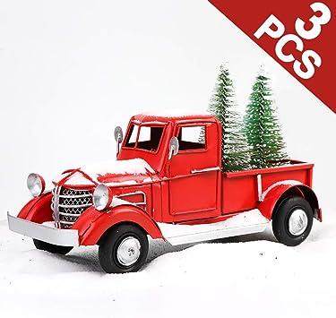 Christmas Trucks Set Of 3 Ornaments Holiday Tree Decoration Truck