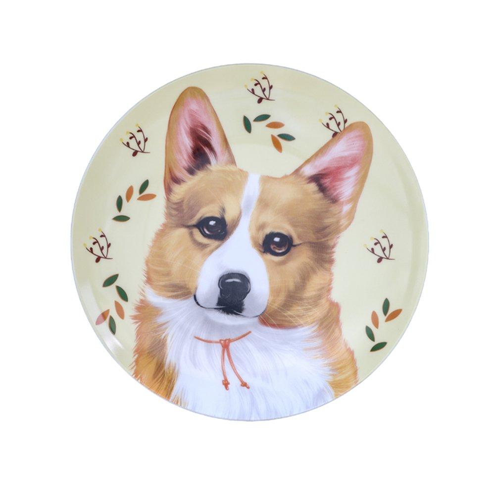 Colias Wing 8'' Cuddly Cartoon Animal Corgi Pattern Plates Holiday Dessert Plates Christmas Dinner Plates-Khaki