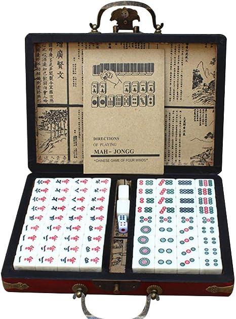 LEERAIN Mini Mahjong/Majiang, Chino Tradicional Conjunto del Club Mahjong, Juego Mesa Juego Fiesta Juego Juego Fichas con Caja Almacenaje Antigua 144 Unids 22 * 15 * 12 mm: Amazon.es: Deportes y aire libre