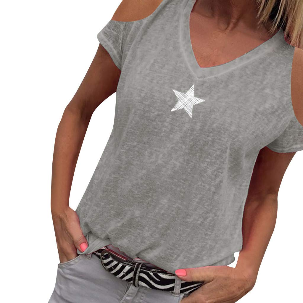 Duseedik Women's Plus Size Tops Summer Casual Printed Floral Blouse Plus Size Cotton Linen Color Casual O-Neck Shirts T-Shirt Gray