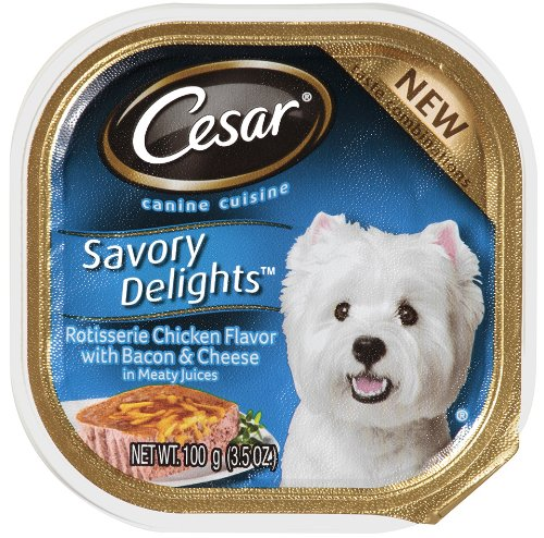 Cesar Savory Delights Canine Cuisine Rotisserie Chicken Flavor With Bacon and Cheese in Meaty Juices 3.5-Ounce (Pack of 24 ), My Pet Supplies
