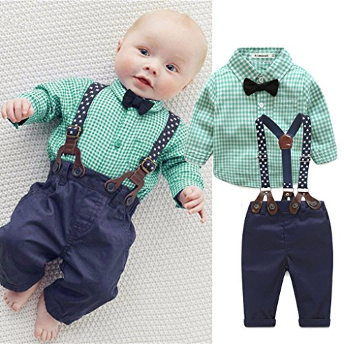 Infant Newborn Baby Boys Clothes, TRENDINAO Kids Toddler Boys Grid Print Tops+Pants Outfits Clothes Set