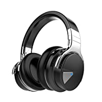 COWIN E7 Wireless Bluetooth Headphones with Microphone Hi-Fi Deep Bass Wireless Headphones Over Ear, Comfortable Protein Earpads, 30 Hours Playtime for Travel Work TV Computer iPhone - Black