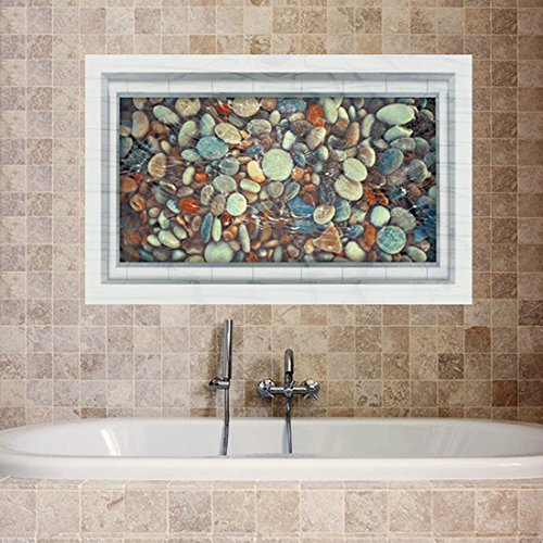3D Cobblestone Water Pond Wall Stickers Papers Home Decal - 1