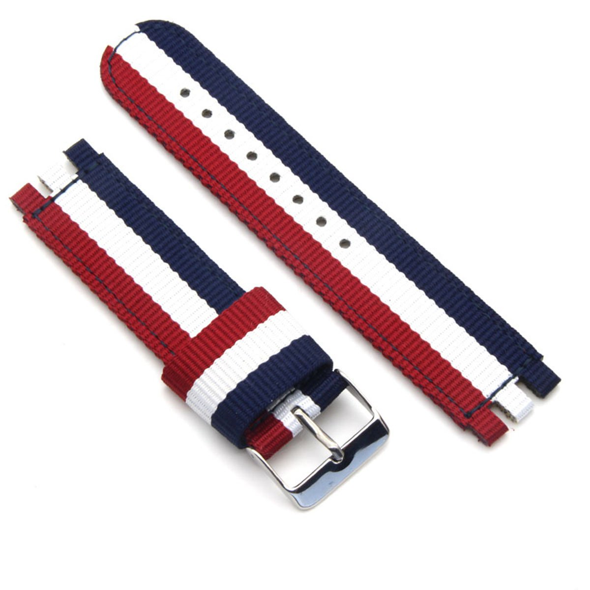 Zeit Diktator 19mm Nylon Watch Band for Swatch Style Multi-Color Replacement Strap (3 Stripes-Silver Buckle)