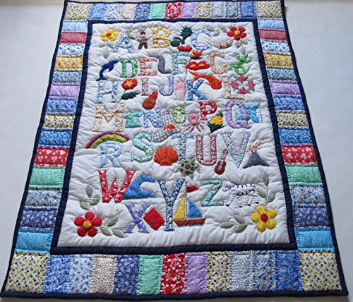 (Hawaiian Style ABC Quilt Baby Crib Blanket, Wall Hanging and Machine Appliquéd)