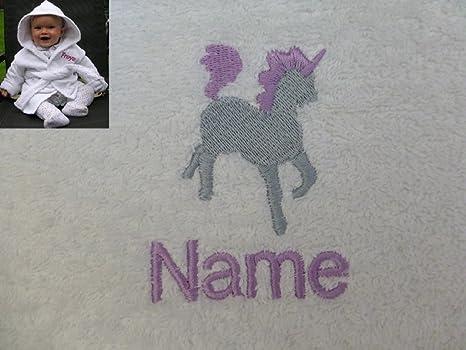Bebé albornoz con un unicornio Logo y nombre de tu elección. 0 – 9 meses