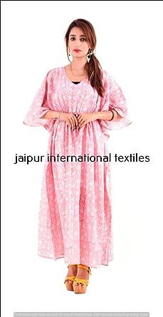 e8b6199829 Image Unavailable. Image not available for. Color: Jaipur International  Textiles Indian Block Print Kaftan Cotton Handmade ...