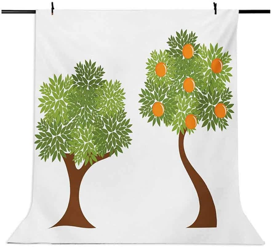 Green and Orange 8x10 FT Photo Backdrops,Two Trees with Fresh Foliage Leaves and Oranges Nature Design Background for Baby Birthday Party Wedding Vinyl Studio Props Photography Orange Fern Green Brow