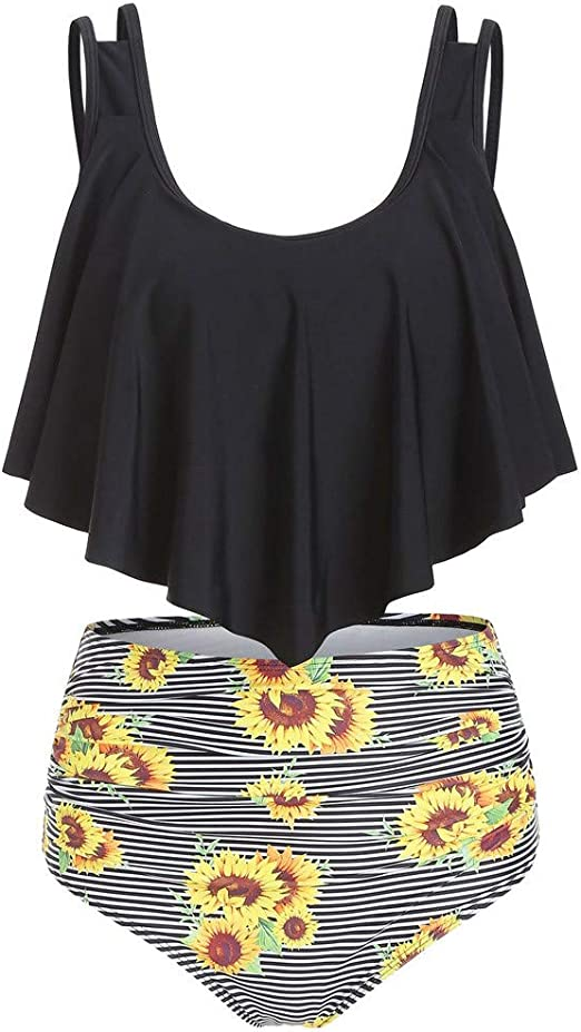 Women Swimsuits Tummy Control Two Piece Tankini Ruffled Top with Tassel Vintage